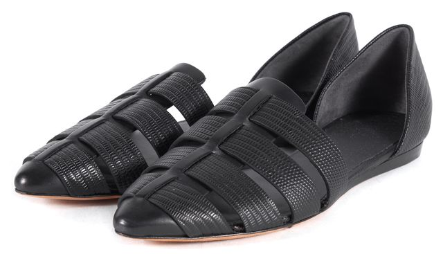 VINCE Black Leather Lizard Embossed d'Orsay Neves Flats