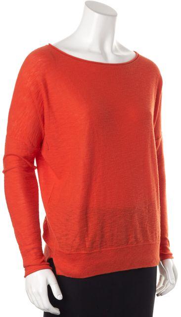 VINCE Orange Cotton Scoop Neck Sweater