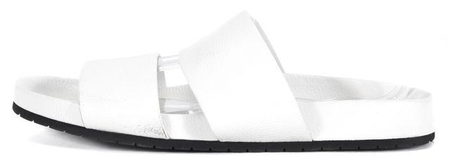 VINCE White Pebbled Leather Double Band Slip-On Sandal