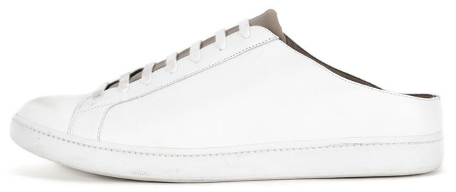 VINCE White Leather Faux Lace-Up Sneaker Mules