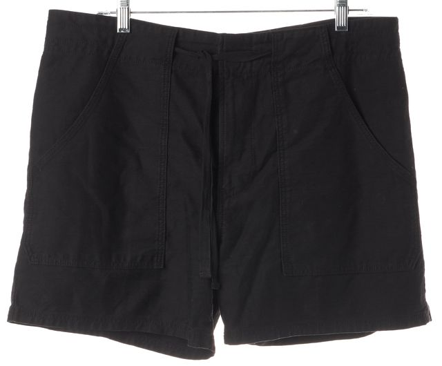 VINCE Black Waist Tied 100% Cotton Casual Shorts