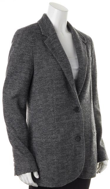 VINCE Gray Herringbone Wool Double Button Blazer