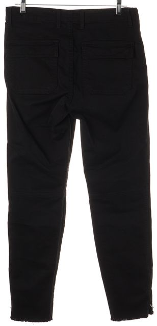 VINCE Black Ankle Zipped Four Pocket Slim Fit Cargo Pants
