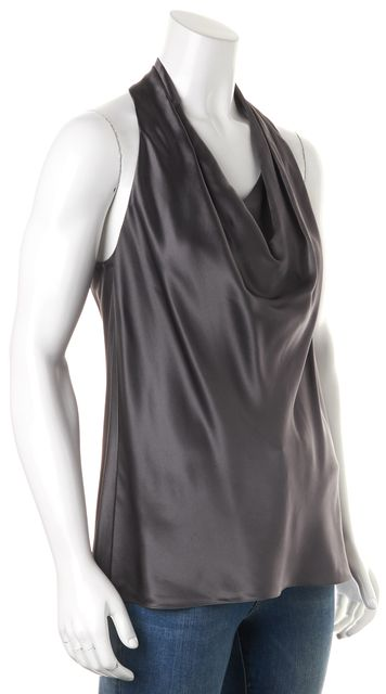 VINCE Gray Sleeveless Silk Blouse Top