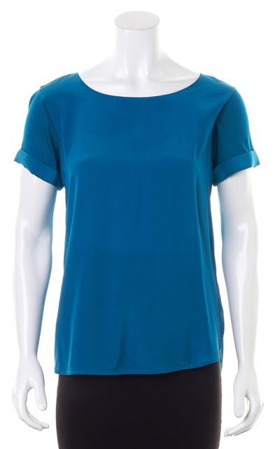 VINCE Teal Blue Silk Front Jersey Back Short Sleeves Blouse Top