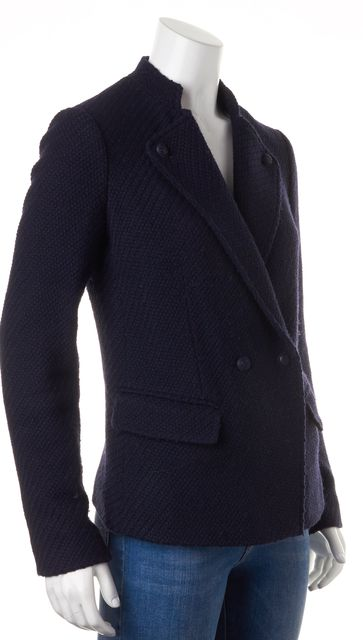 VINCE Navy Blue Boucle Wool Double Breasted Basic Jacket Coat