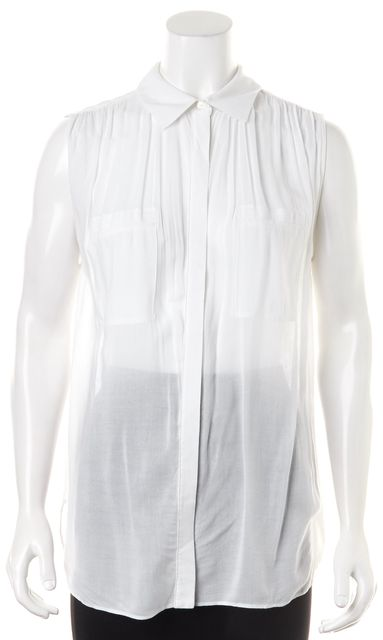 VINCE White Sleeveless Button Down Blouse Top