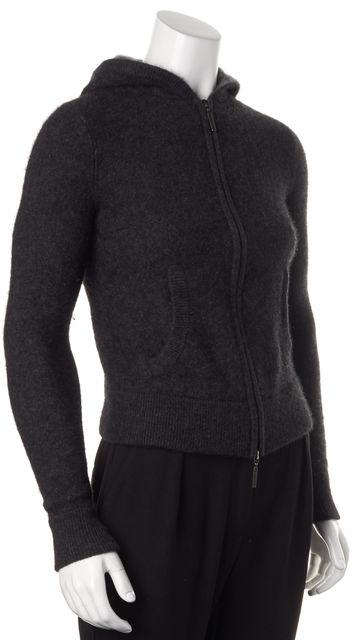 VINCE Gray Cashmere Knit Zip Up Hooded Jacket