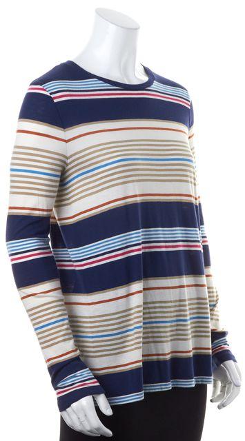 VINCE Blue Beige Brown Striped Long Sleeve Crewneck Top