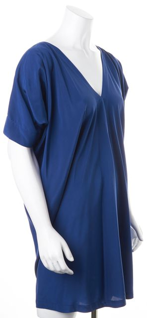 VINCE Blue Silk Short Kimono Sleeves V-Neck Tunic Shift Mini Dress