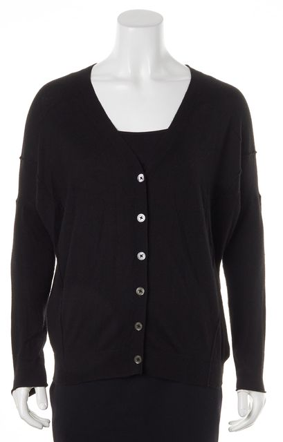 VINCE Solid Black Thin Knit Button Up Cardigan Sweater