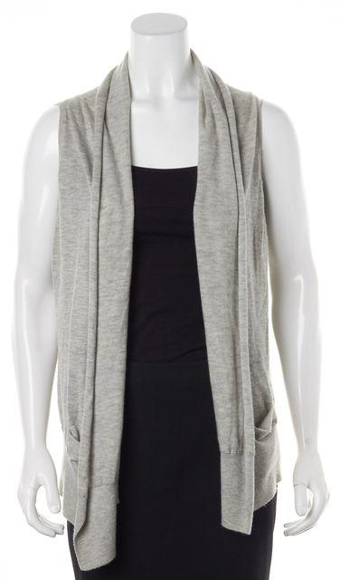 VINCE Light Gray Cashmere Knit Sleeveless Open Cardigan