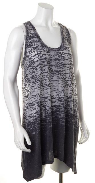 VINCE Gray Burnout Semi Sheer Cotton Jersey Sleeveless Racerback Tank Dress
