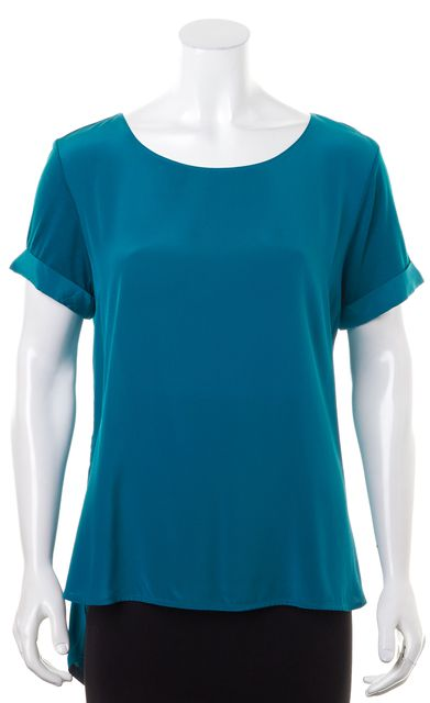 VINCE Teal Blue Short Cuff Sleeve Blouse Top