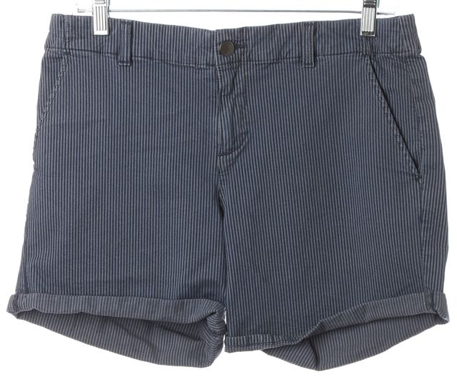 VINCE Blue Striped Cotton Cuffed Shorts