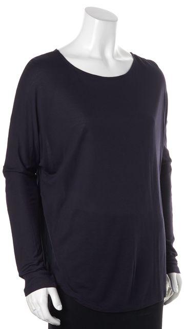 VINCE Navy Blue Silk Trim Long Sleeve Wide Crewneck Basic T-Shirt