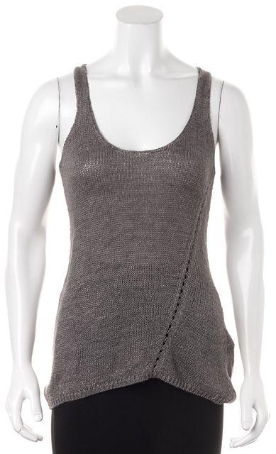 VINCE Gray Linen Sleeveless Scoop Neck Asymmetric Knit Top