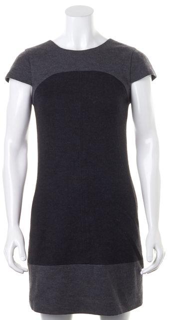 VINCE Gray Tonal Colorblock Felted Wool Cap Sleeve Shift Dress