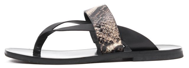 VINCE Black Snake Embossed Leather Slip-on Sandals