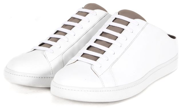VINCE White Leather Slip On Sneakers