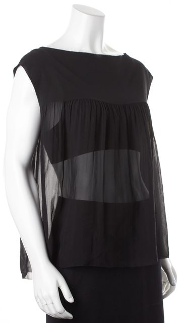 VINCE Black Sheer Silk Sleeveless Pleated Baby Doll Blouse Top