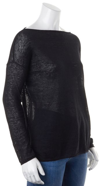 VINCE Black Linen Semi Sheer Long Sleeve Boat Neck Knit Top