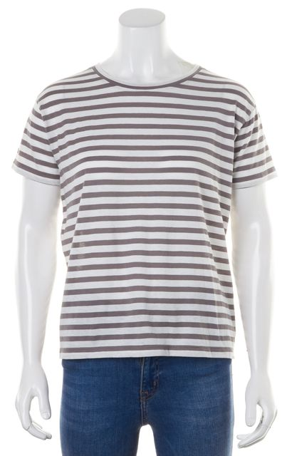 VINCE Gray White Striped Cotton Short Sleeve T-Shirt