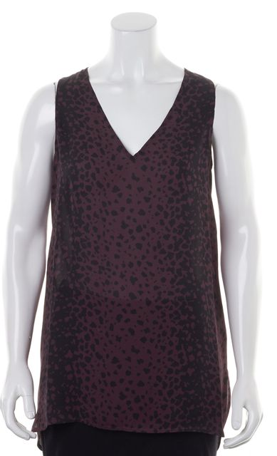 VINCE Purple Black Animal Print Silk Sleeveless Blouse Top