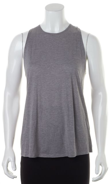 VINCE Heather Gray Cotton Silk Jersey Twist Racerback Tank Top