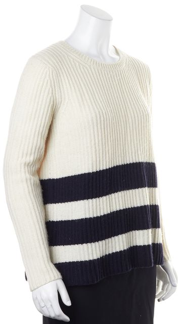 VINCE Ivory Navy Blue Striped Wool Waffled Knit Crewneck Sweater