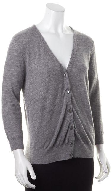 VINCE Medium Gray Cashmere Knit V-Neck Button Up Cardigan