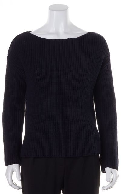 ... VINCE Navy Blue Waffle Knit Wide Wide Crewneck Sweater