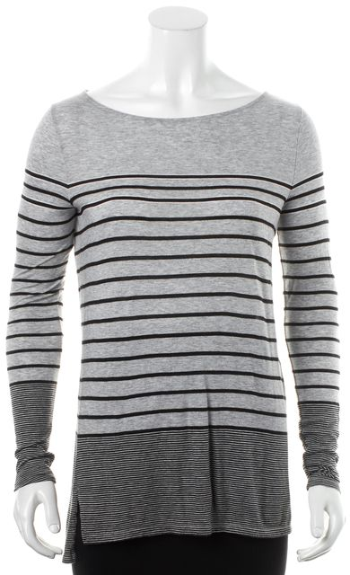 VINCE Gray Black White Striped Long Sleeve Scoop Neck Casual Top