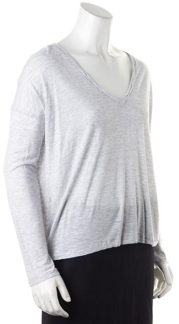 VINCE Light Heather Gray Jersey Long Sleeve V-Neck Tee T-Shirt Top
