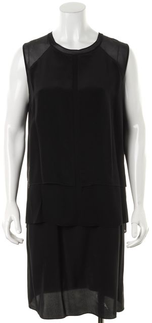 VINCE Black Sleeveless Silk Layered Pencil Dress