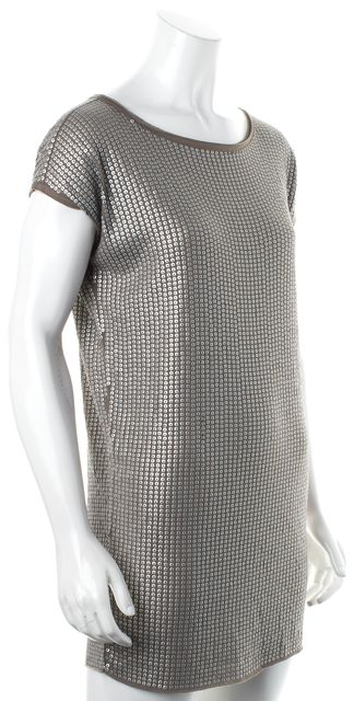 VINCE Brown Silver Sequin Embellished Cap Sleeve Tunic Mini Dress
