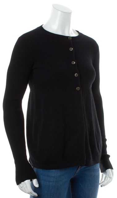VINCE Black Cashmere Knit Half Button Up Long Sleeve Cardigan Sweater