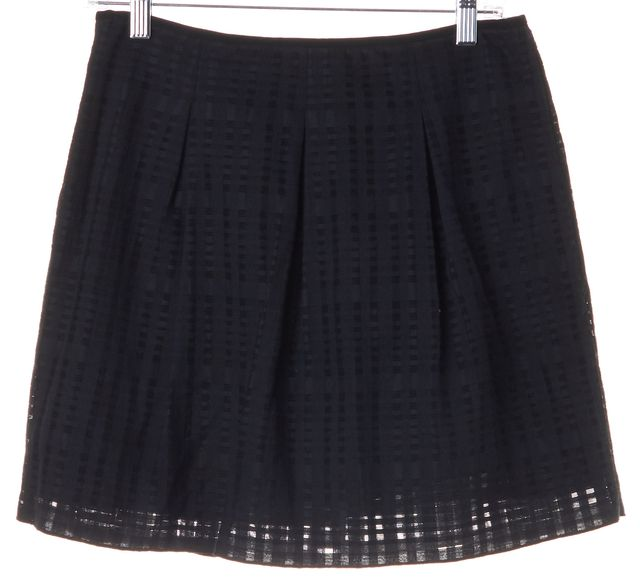 VINCE Black Semi-Sheer Check Pleated A-Line Skirt