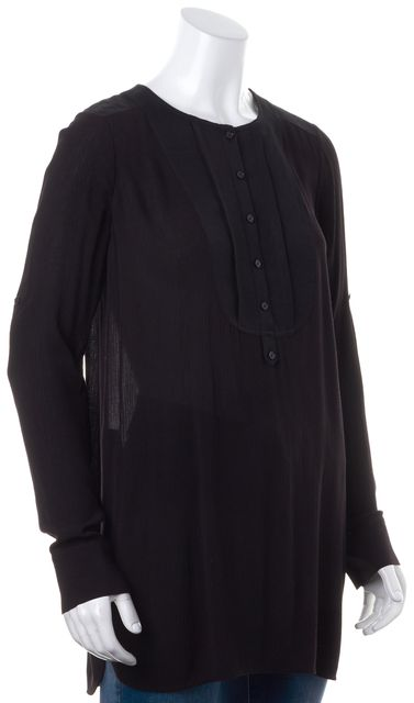 VINCE Solid Black Sheer Long Sleeve Half Button Long Casual Blouse