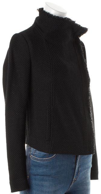 VINCE Black Fringe Trim Asymmetrical Basic Zip Up Jacket