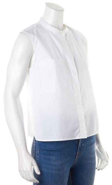 VINCE White Cotton Sleeveless Semi Sheer Button Up Blouse