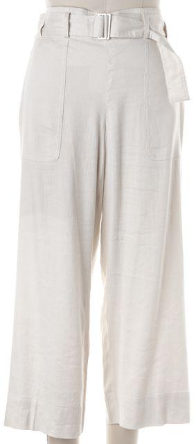 VINCE Beige Linen Cropped Belted Trouser Dress Pants