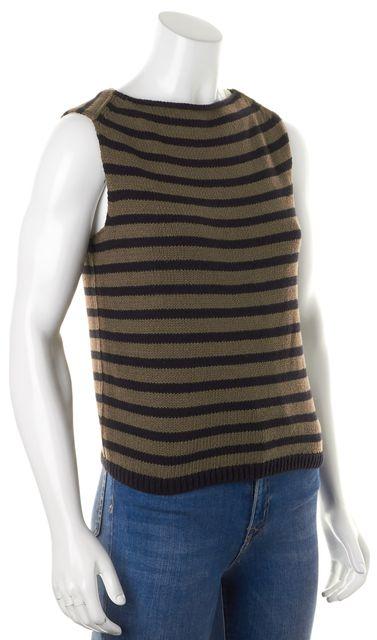 VINCE Army Green Black Striped Sleeveless Crewneck Knit Top