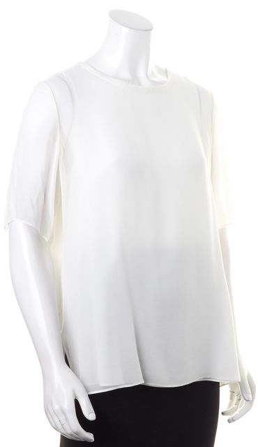 VINCE White Sheer Short Sleeve Crepe Silk Blouse