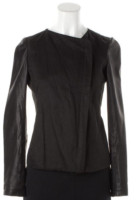VINCE Black Linen Leather Sleeve Basic Zip-Up Jacket