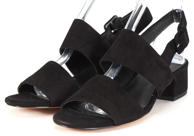 VINCE Black Suede Leather Taye Sandal Mid-Heels