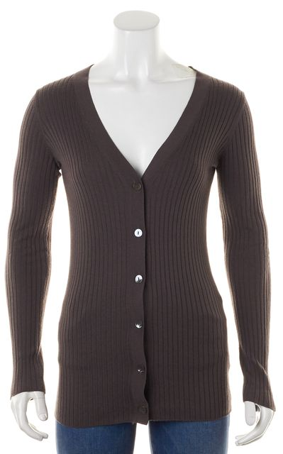VINCE Brown Beige Rib Knit Button Up Cardigan