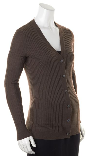 VINCE Pale Brown Rib Knit Button Up Cardigan