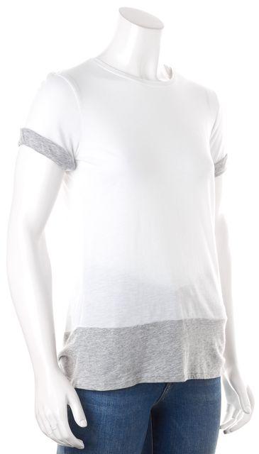 VINCE White Gray Sheer Colorblock Basic T-Shirt