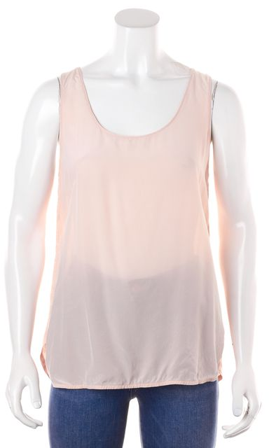 VINCE Pale Pink Semi Sheer Folded Back Tank Top
